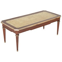 Maison Jansen Mahogany Coffee Table with Gold Leaf Glass Top and Bronze Mounts