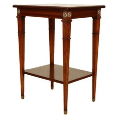 Maison Jansen Mahogany Occasional Table with Bronze Rosettes and Single Drawer