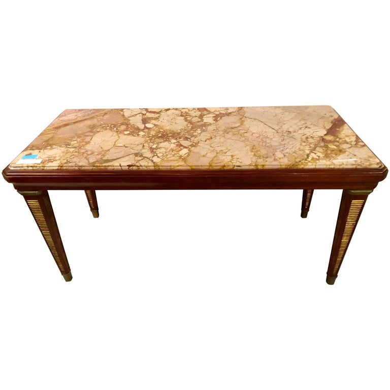 Marble Topped Gilt Coffee Table C 1920: Maison Jansen Marble-Top Coffee Table Or Low Table With