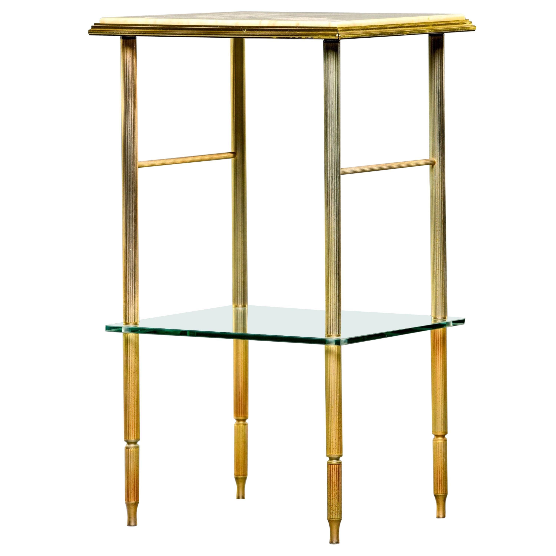Maison Jansen Mid Century Brass and Onyx Side Table