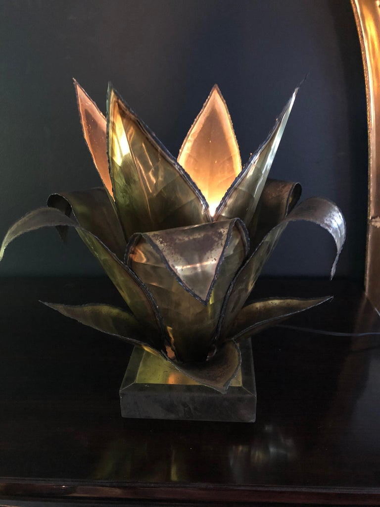 Maison Jansen Mid Century French Brass Leaf Plant Table Lamp For Sale 1