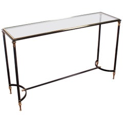 Maison Jansen Midcentury Brass and Glass Console Table, 1970s, France