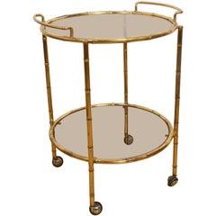 Maison Jansen Midcentury Brass Faux Bamboo French Serving Bar Cart, 1970s