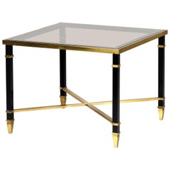 Maison Jansen Midcentury France Coffee Table in Brass and Glass, 1970s