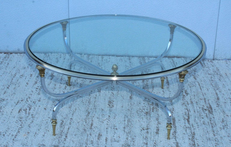 Stunning 1970s solid steel and brass with chrome finish coffee table by Maison Jansen.