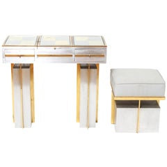 Modern Steel Vanity Table and Stool In Style Of Maison Jansen