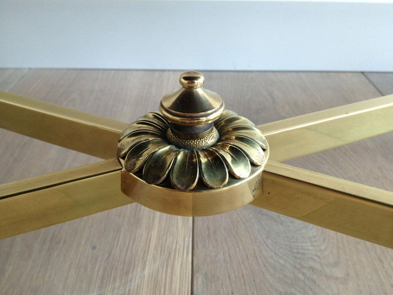 Maison Jansen, Neoclassical Brass Coffee Table with Black Lacquered Glass Top For Sale 11
