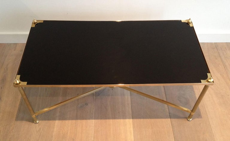 Maison Jansen, Neoclassical Brass Coffee Table with Black Lacquered Glass Top For Sale 13