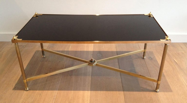 Maison Jansen, Neoclassical Brass Coffee Table with Black Lacquered Glass Top For Sale 14