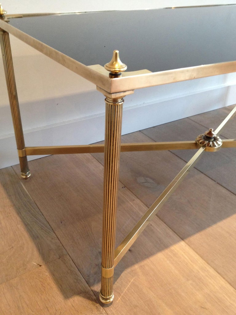 French Maison Jansen, Neoclassical Brass Coffee Table with Black Lacquered Glass Top For Sale