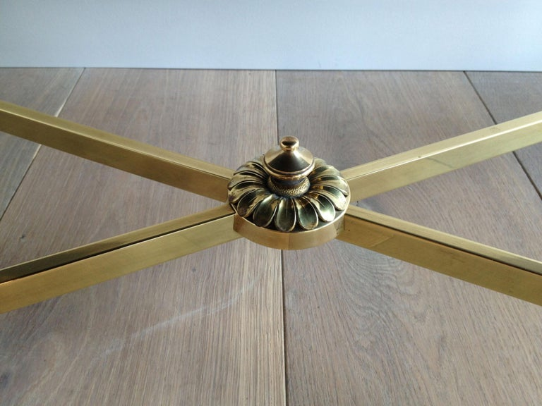 Maison Jansen, Neoclassical Brass Coffee Table with Black Lacquered Glass Top For Sale 3