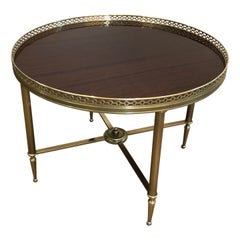 Maison Jansen, Neoclassical Brass Round Coffee Table with Mahogany Veneer Top F