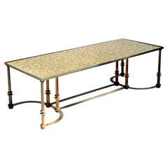 Maison Jansen Neoclassical Distressed Steel Coffee Table Cloudy Mirror Glass