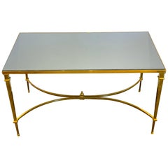 Neoclassical Gilt Bronze Coffee Table with Grey Mirror Top