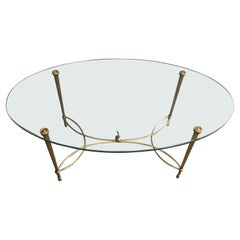 Maison Jansen, Neoclassical Oval Brass Coffee Table with Dolphin on Center of