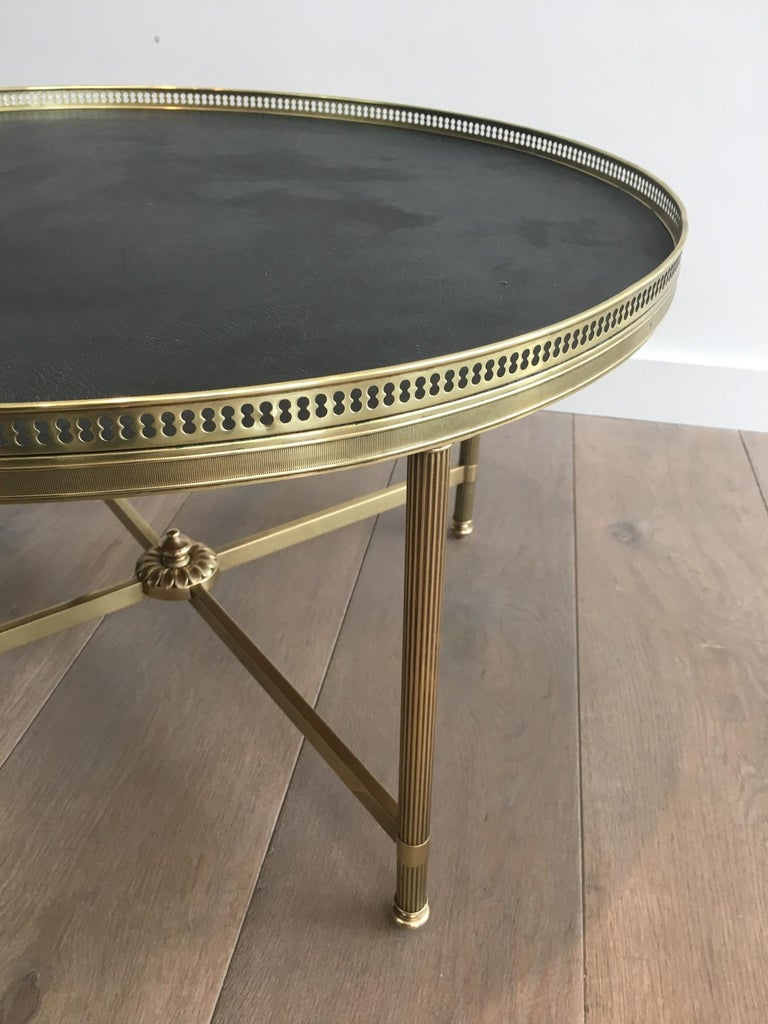 Maison Jansen, Neoclassical Round Coffee Table with Faux-Leather Top For Sale 2