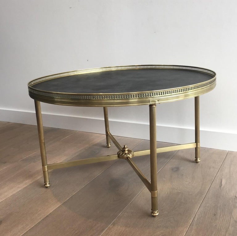 Maison Jansen, Neoclassical Round Coffee Table with Faux-Leather Top For Sale 3