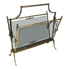 Maison Jansen, Neoclassical Style Brass and Blue Glass Magazine Rack, French