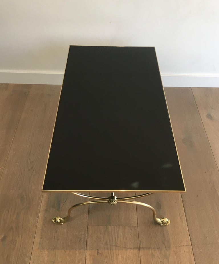 Maison Jansen, Neoclassical Style Brass Coffee Table with Dolphin Heads For Sale 8