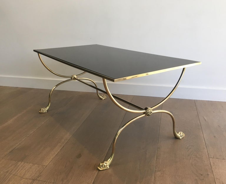 Maison Jansen, Neoclassical Style Brass Coffee Table with Dolphin Heads For Sale 3
