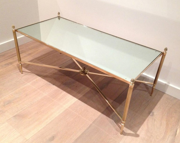 Maison Jansen, Neoclassical Style Brass Coffee Table with Mirror Top, French For Sale 12