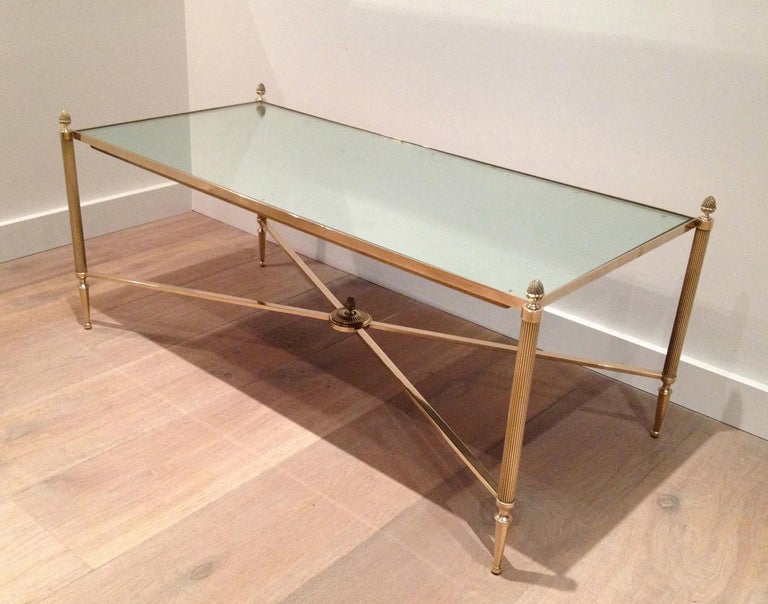 Maison Jansen, Neoclassical Style Brass Coffee Table with Mirror Top, French For Sale 13
