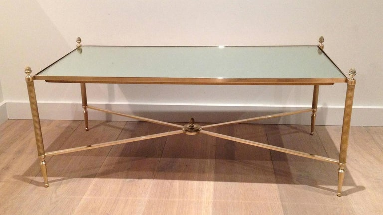 Maison Jansen, Neoclassical Style Brass Coffee Table with Mirror Top, French For Sale 14