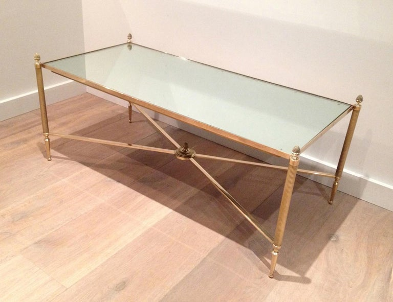 Maison Jansen, Neoclassical Style Brass Coffee Table with Mirror Top, French For Sale 15