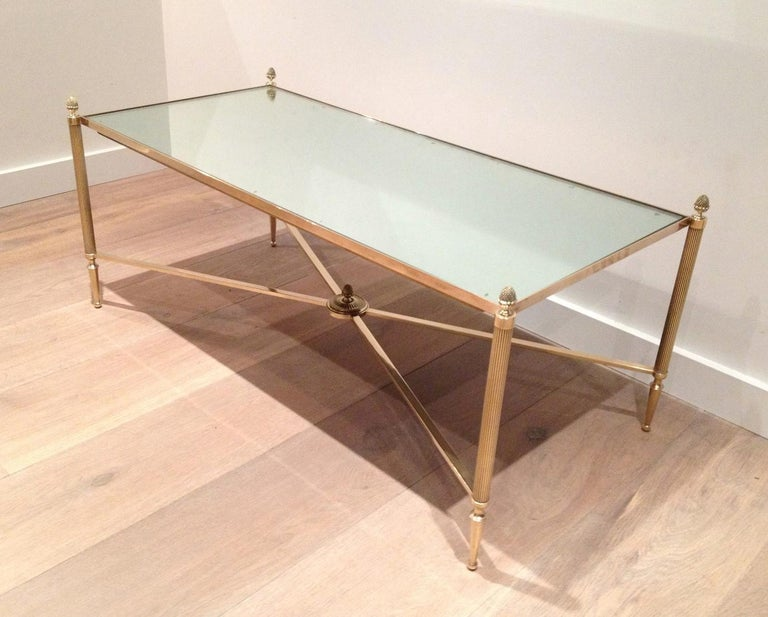 Maison Jansen, Neoclassical Style Brass Coffee Table with Mirror Top, French In Good Condition For Sale In Marcq-en-Baroeul, FR