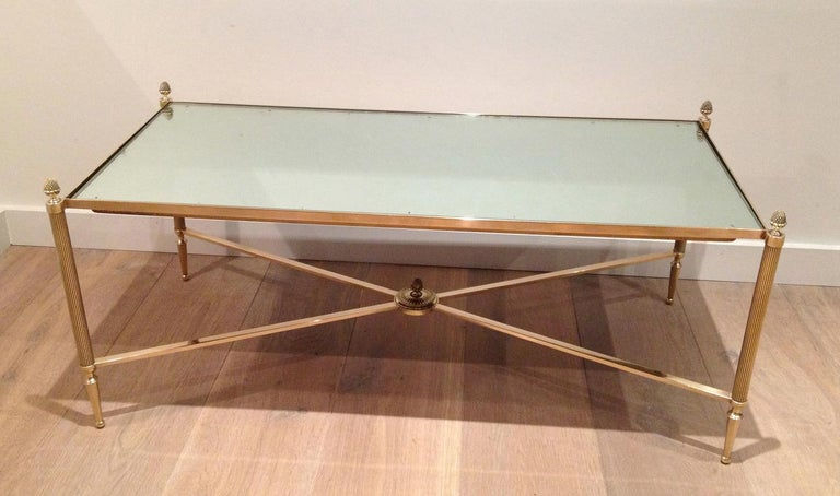 Mid-20th Century Maison Jansen, Neoclassical Style Brass Coffee Table with Mirror Top, French For Sale