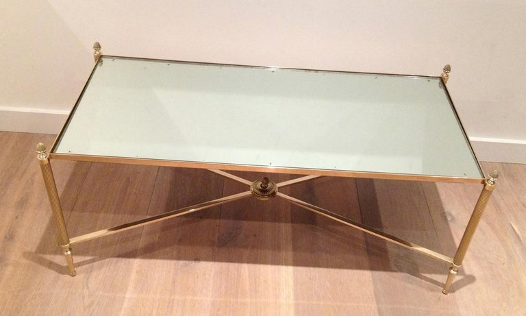 Maison Jansen, Neoclassical Style Brass Coffee Table with Mirror Top, French For Sale 1