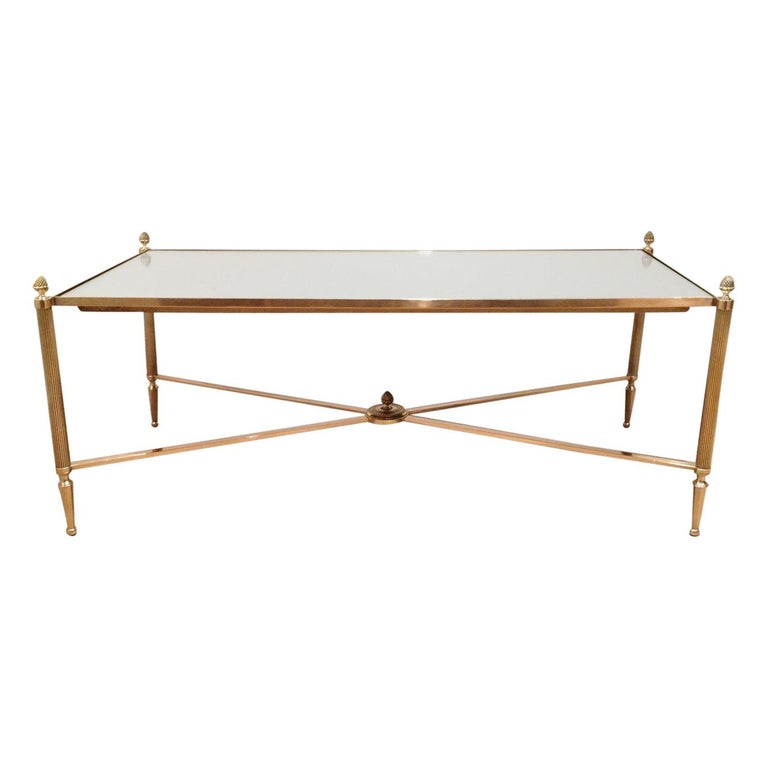 Maison Jansen, Neoclassical Style Brass Coffee Table with Mirror Top, French For Sale