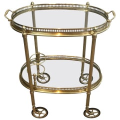 Maison Jansen, Neoclassical Style Brass Oval Bar Cart, French, circa 1940