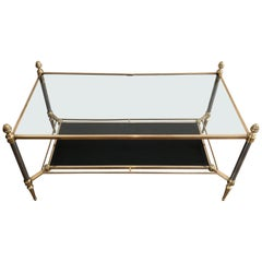 Maison Jansen, Neoclassical Style Brushed Steel and Brass Coffee Table with a Bl