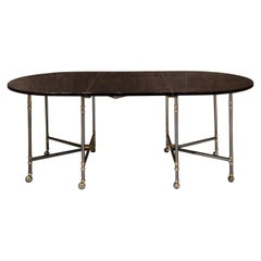 Maison Jansen Oval Black Lacquered France Dining Table Royal Model