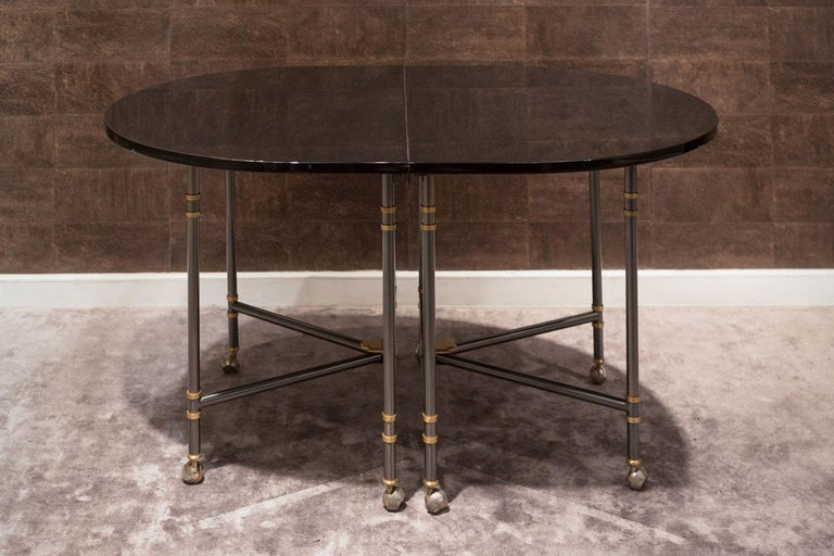 Extension oval dining table, Royale model, iconic piece from Maison Jansen France, 1960