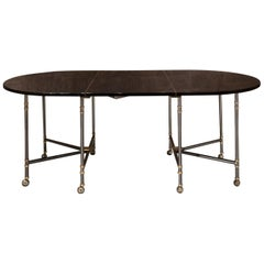 Maison Jansen Oval Black Lacquered France Dining Table Royale Model, 1960