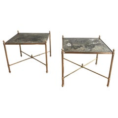 Maison Jansen, Pair of Brass Side Tables with Eglomised Mirrors, French