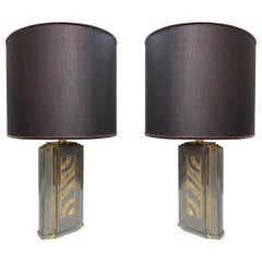 Maison Jansen, Pair of Bronze Midcentury Table Lamps, Signed Rue Royal, 1960