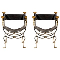 Maison Jansen, Pair of Curule Armchairs, France, circa 1970
