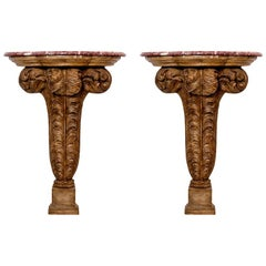 French Maison Jansen Pair of Feather Consoles, Plaster and Wood Base, Marble Top