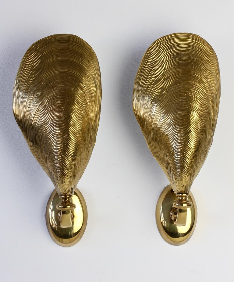 Mid-Century Modern Maison Jansen Pair of Midcentury Bronze Mussel Shell Wall Lights or Sconces For Sale