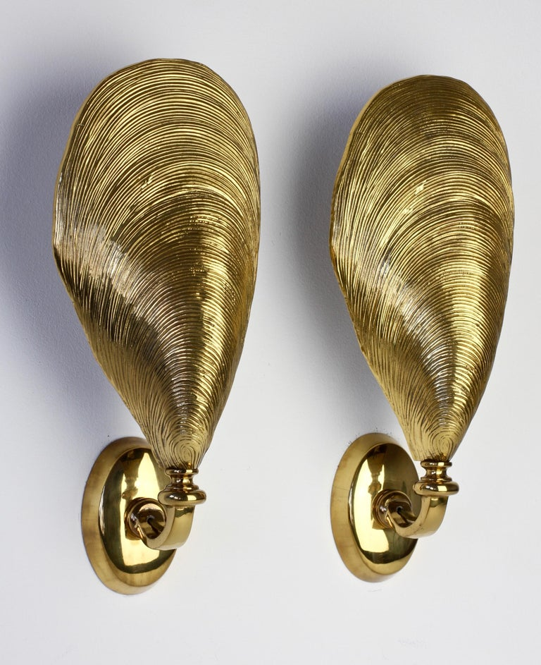 Cast Maison Jansen Pair of Midcentury Bronze Mussel Shell Wall Lights or Sconces For Sale