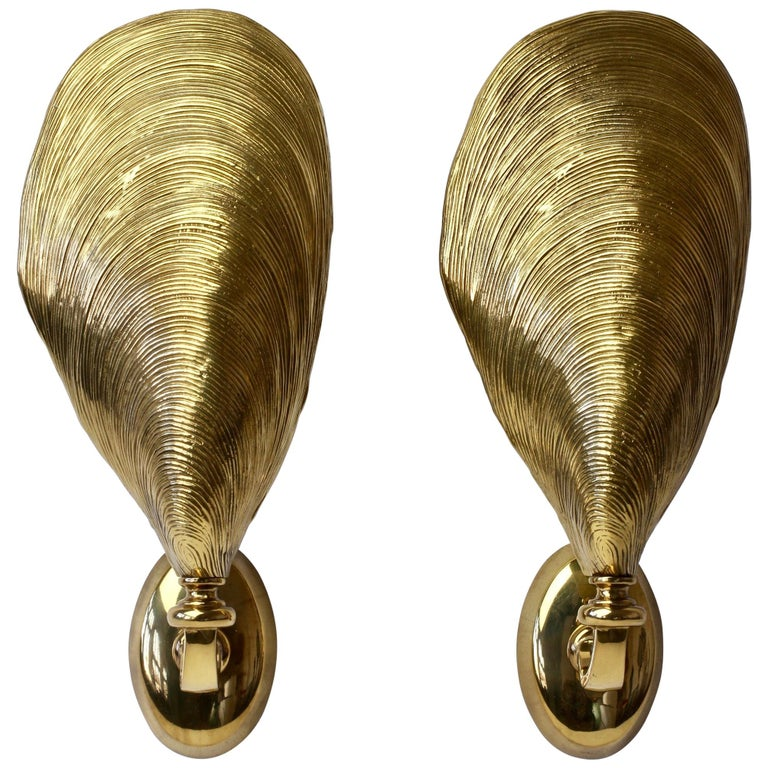 Maison Jansen Pair of Midcentury Bronze Mussel Shell Wall Lights or Sconces For Sale