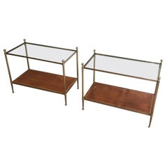 Maison Jansen, Pair of Neoclassical Style Brass, Leather and Glass Side Tables