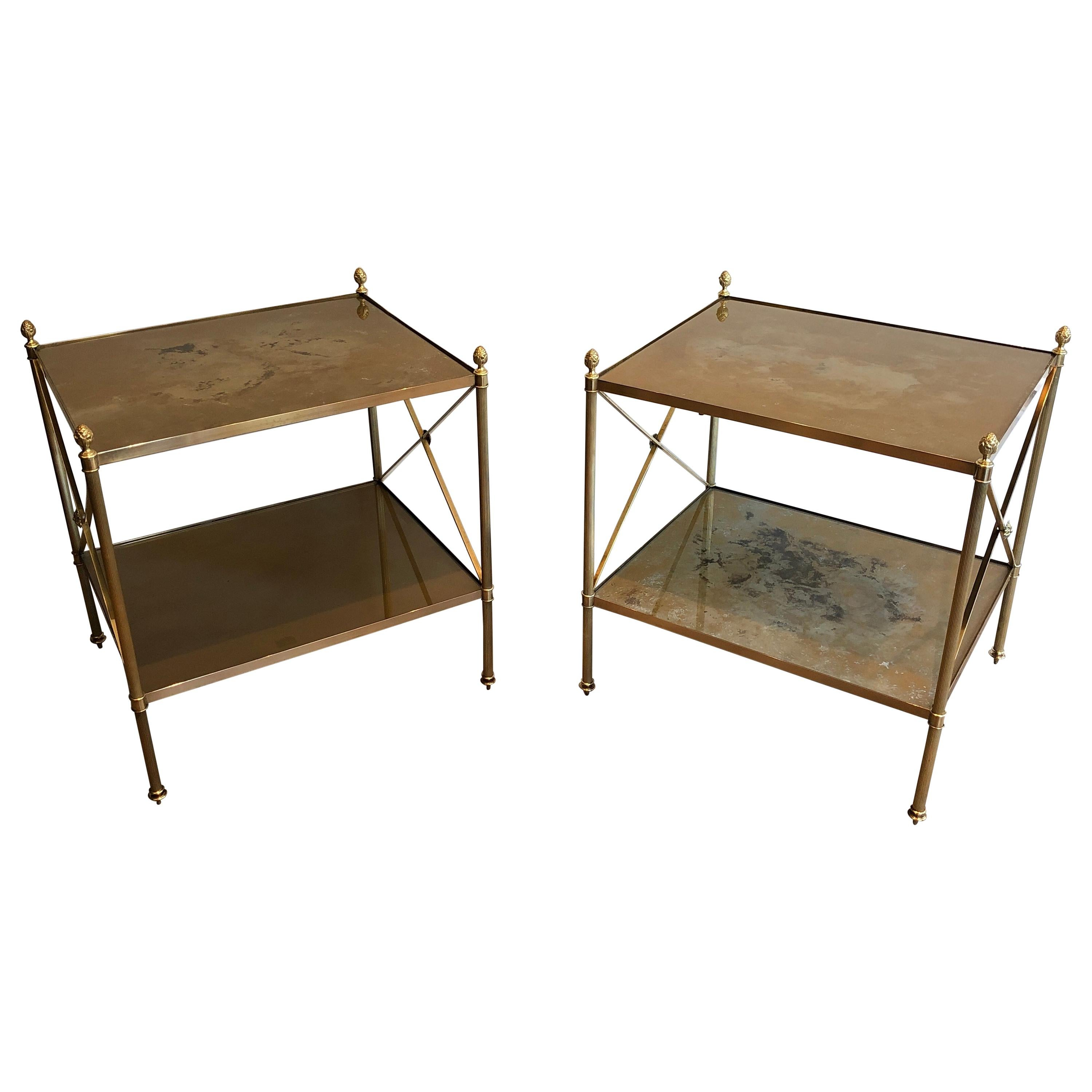 Maison Jansen, Pair of Neoclassical Style Brass Side Tables