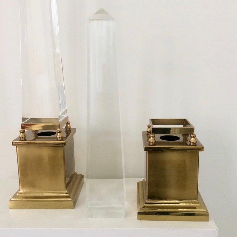 Maison Jansen Pair of Obelisk Table Lamps, circa 1970, France 3