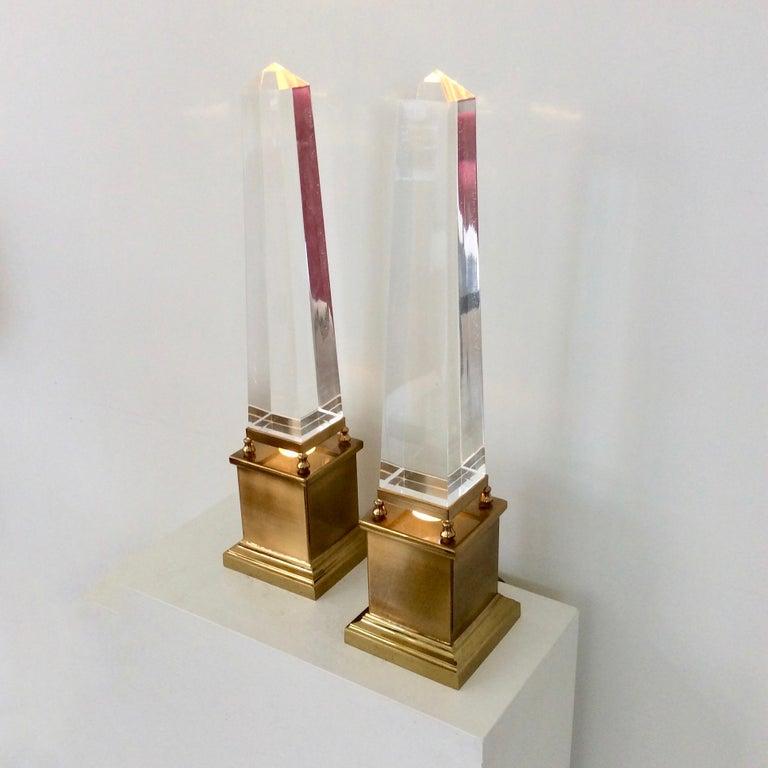 Mid-Century Modern Maison Jansen Pair of Obelisk Table Lamps, circa 1970, France