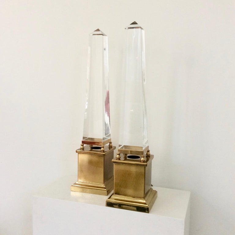 Patinated Maison Jansen Pair of Obelisk Table Lamps, circa 1970, France