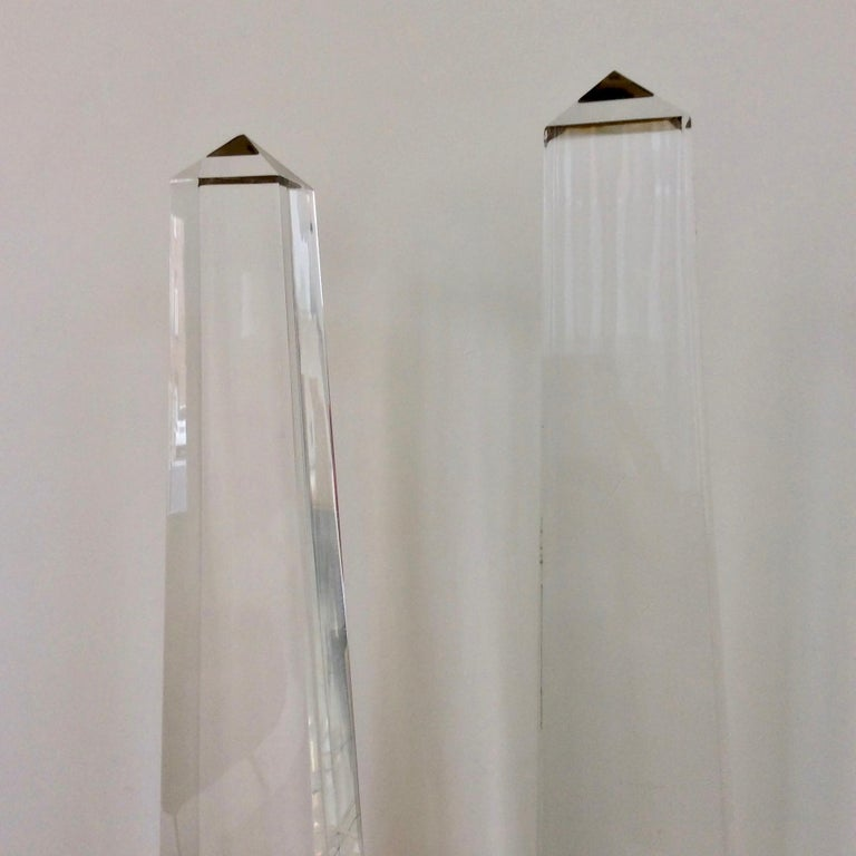 Maison Jansen Pair of Obelisk Table Lamps, circa 1970, France In Good Condition In Brussels, BE
